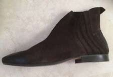 HUDSON BROWN 'LARNER' HANDCRAFTED DISTRESSED SUEDE BOOTS IN BROWN SIZE UK8 EU 42