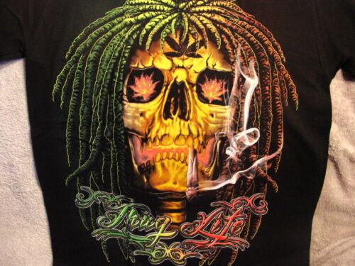 SKULL SMOKING JOINT THUG LIFE MARIJUANA T-SHIRT SHIRT