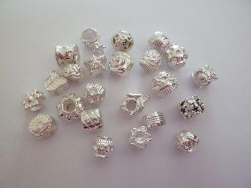 lot de 40 perles européennes argentée  mix modèles  - bijou diy