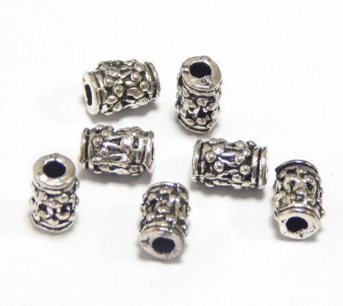 20 Metallperlen 8mm Tibet Silber Zwischenteile Spacer Röhre für Schmuck F253