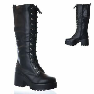 NEW-LADIES-WOMENS-KNEE-HIGH-CHUNKY-PLATFORM-MID-BLOCK-HEEL-LACE-UP-ZIP-UP-BOOTS