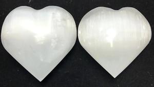 "3"" White Selenite Heart Crystal Quartz Natural Stone Hearling ( 2 pieces )"