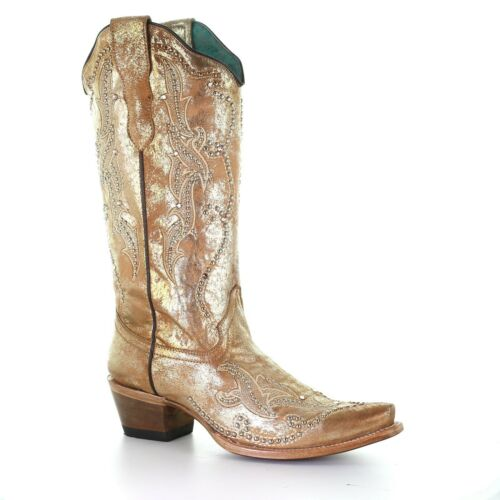 Corral Ladies Metallic Gold Embroidery /& Crystals Boot E1625