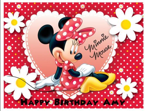 Minnie Mouse Personnalisé Cake Topper A4//Rectangle plaquette papier//Icing Sheet