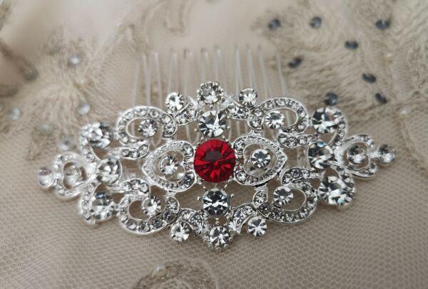 'lillia' Art Deco Stile Vintage Ruby Red Crystal Nuziale Capelli Pettine Anni 1920