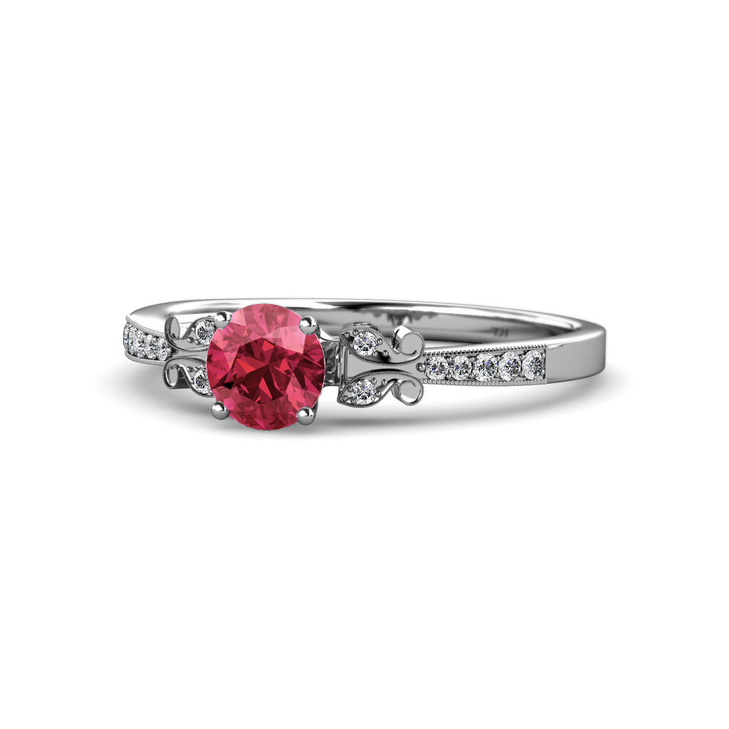 Rhodolite Garnet & Diamond Butterfly Engagement Ring 1.17 cttw 14K gold JP 59386
