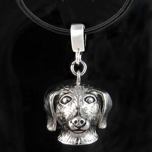 Dachshund-Doxie-Dog-Rhodium-Plated-Pendant-Genuine-Leather-Necklace-Chain