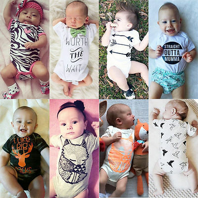 Newborn Baby Boy Girl Bodysuit Romper Jumpsuit Playsuit Outfits Summer Clothes