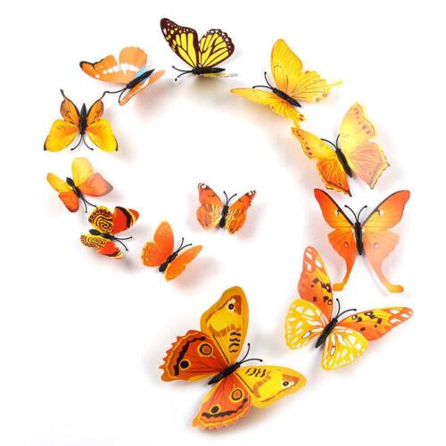 12X 3D Butterfly Sticker Art Design Decal Wall Decals Kids Home Decor Magnet