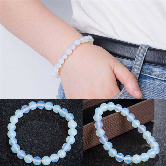 2b087626c503f 8mm Round Crystal Moonstone Natural Stone Stretched Beaded Bracelet for  Women AB