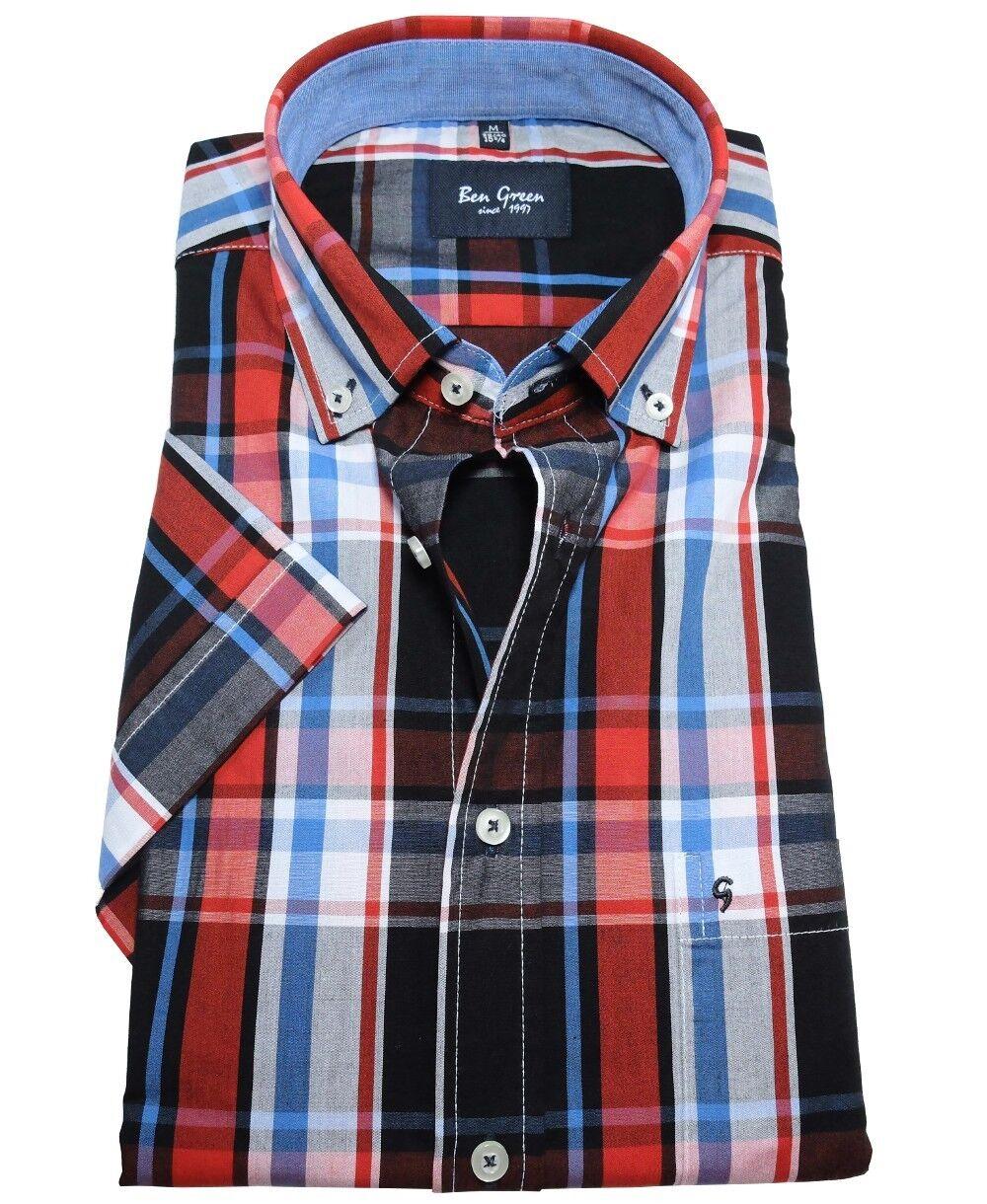Ben Grün RegularFit Freizeithemd Kurzarm rot schwarz blau weiss Karo Gr. M-5XL     | Stilvoll und lustig