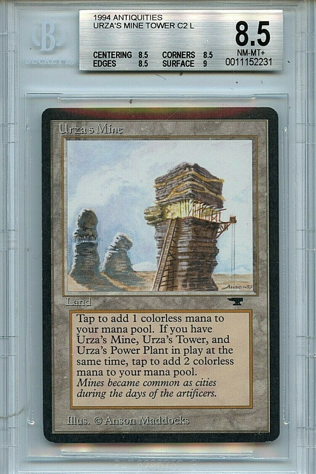 MTG Antiquities Urza's Mine BGS 8.5 NM-MT+ Tower Magic card Amricons 2231