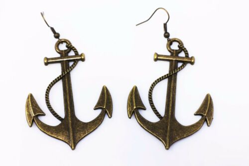 Large Sea Anchor Dangling Earrings Necklace Antique Bronze Set Retro Style Huge