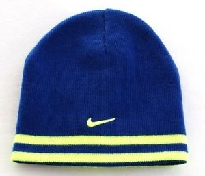 fa92c94df Nike Reversible Blue & Volt Knit Beanie Skull Cap Youth Boy's 8-20 ...