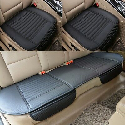 Black Car PU Leather Rear Back Seat Cover Breathable Cushion Chair Covers Mat