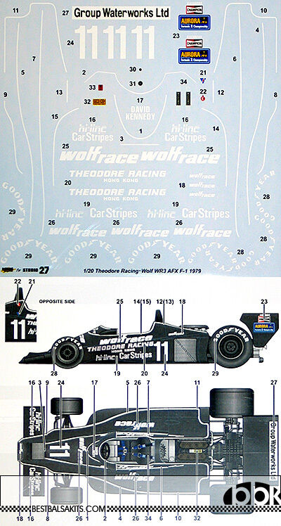 STUDIO 27 1 20 WOLF WR3 THEODORE RACING AFX F-1 1979 EARLY VER DECAL for TAMIYA