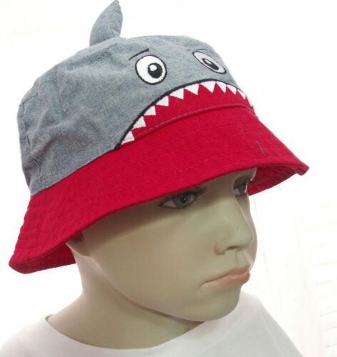 NEU Sonnenhut Jungen Fischermütze Hut SOMMER Kindermütze HAIE SHARK Baumwolle