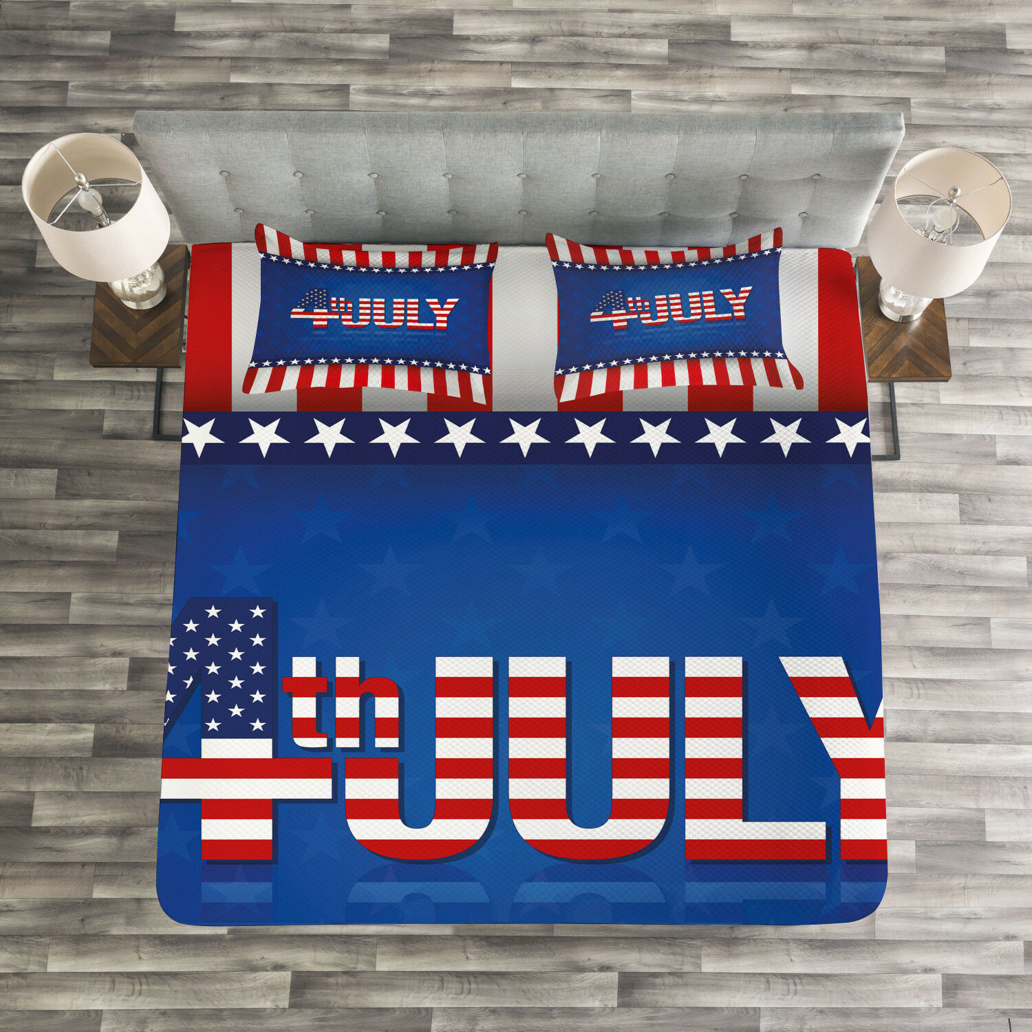4th of July Quilted Bedspread & Pillow Shams Set, America Flag Pattern Print
