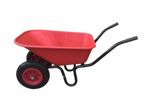 110L TWIN WHEELBARROW WITH PNEUMATIC WHEEL & RED PLASTIC BODY WHEEL BARROW