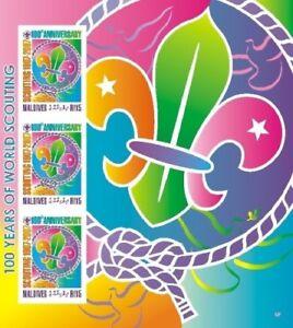 Maldives-Boy-Scouts-Centenary-Stamp-Sheet-of-3-MNH