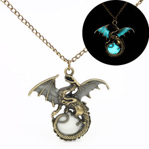 Fashion fly dragon pendant chain glow in the dark necklace for Dragon gifts for men