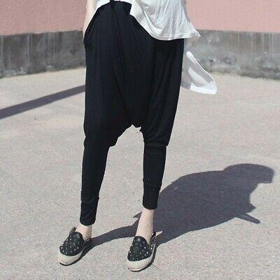 Femmes Noir et Blanc Rayure Goutte Entrejambe Pantalon Sarouel Taille Élastique