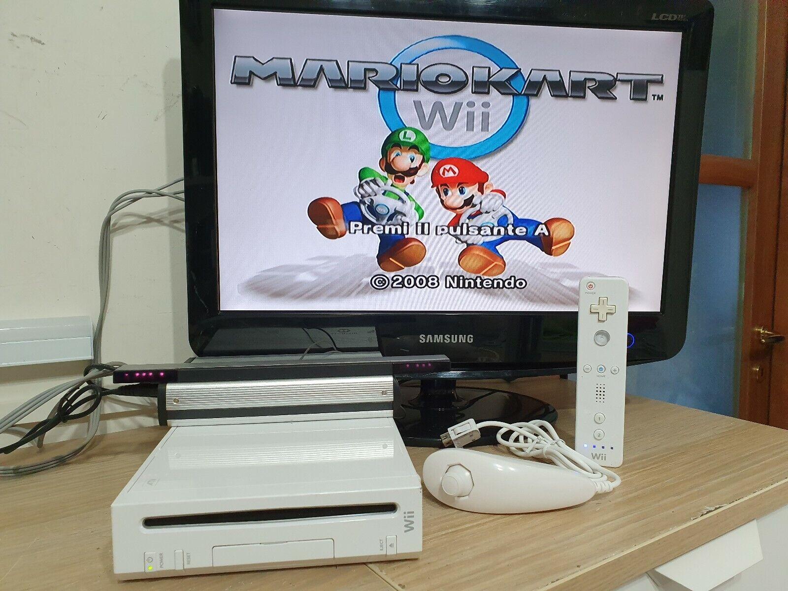 videogiochi e console: wii con giochi 140 titoli console completa con controller e nunchuk  mario kart