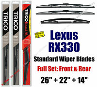 Wiper Blades 3-pack Front Rear - Fit 2004-2006 Lexus Rx330 - 30260/221/14a