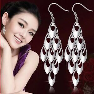 9ca744d3e Image is loading UK-Womens-Long-Earrings-925-Sterling-Silver-Plated-
