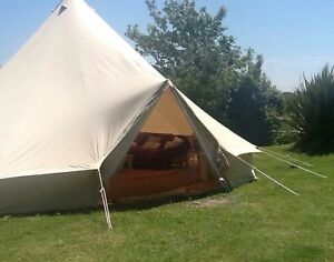 Image is loading 100-Cotton-7m-Bell-Tent-with-Zipped-in- & 100% Cotton 7m Bell Tent with Zipped in Ground Sheet by Bell Tent ...