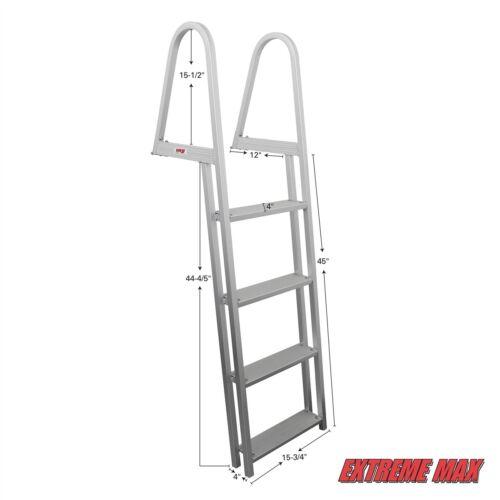 Extreme Max 3005.3380 4-Step Pontoon//Dock Ladder 2 YEAR WARRANTY