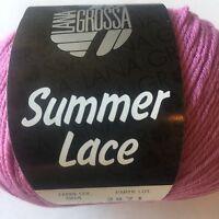 Lana Grossa Summer Lace Pink Yarn Trim Scarf Sweater Wrap Knit Crochet