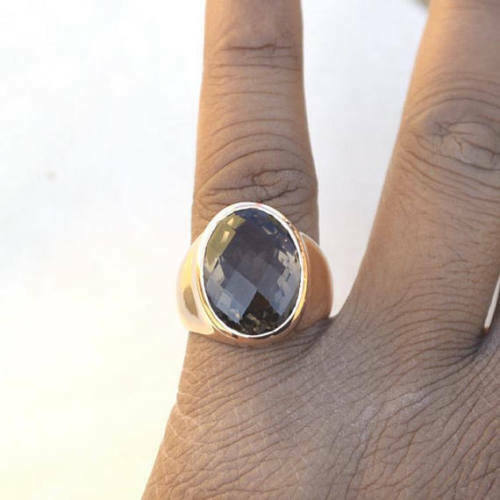 Details about  /Oval Faceted Smoky Quartz Gemstone 925 Sterling Silver Men/'s Ring 6.5