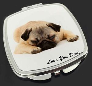 Pug Dog 'Love You Dad' Sentiment Make-Up Compact Mirror Birthday Gift , DAD-81CM
