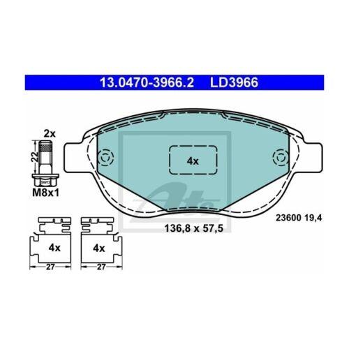 ATE 13.0470-3966.2 Bremsbelagsatz Scheibenbremse ATE Ceramic   für Peugeot