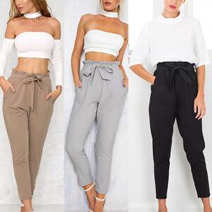 14a516eed9ca Women OL Pencil Trousers Skinny Stretch Slim High Waist Trousers ...
