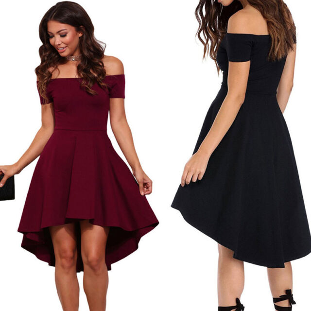 Off Shoulder Women Sexy Summer Bodycon Skater Evening Party Cocktail Mini Dress