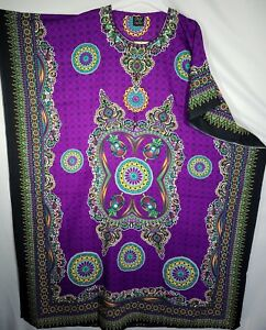Women/'s African Caftan Dress Kaftan Hippie Kimono Sleeve Cocktail Maxi Free Size