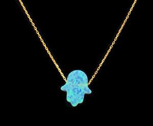 18K-Gold-on-925-Sterling-Silver-Opal-Hamsa-Hand-Fatima-Pendant-Necklace-Blue