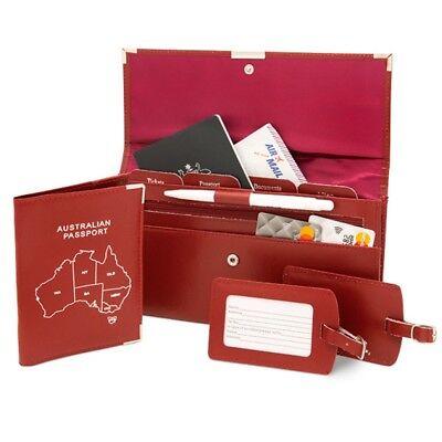 Leather Travel Wallet Organiser Document Australian Set Red - Brand New