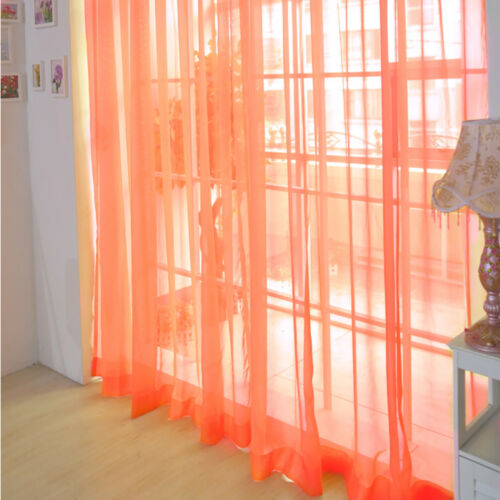 1 PC Pure Color Tulle Door  Drape Panel Sheer Scarf Valances Hot g