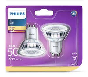 2-Pk-Philips-LED-Glass-4-6w-GU10-50w-A-Spot-Light-Bulb-Lamp-355lm-Warm-White