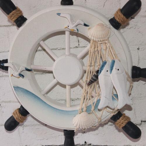 "9/"" Schiff Boot Steuerrad Schiffsteuerrad Fishing Netz Haus Wand Dekor#3"