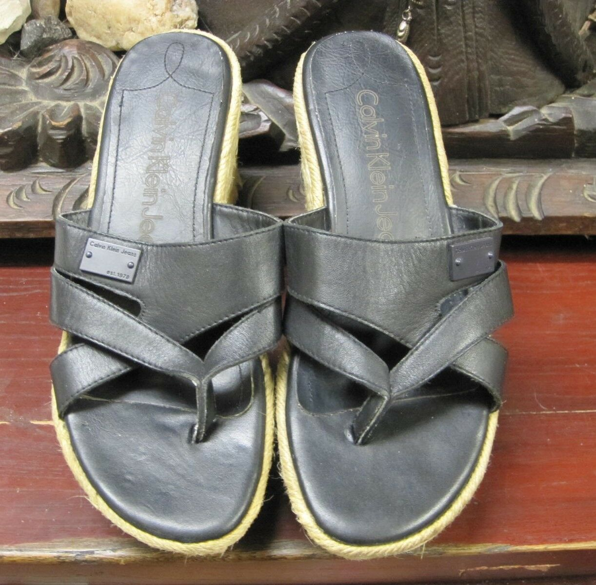 Cute Calvin Klein Jeans platform flat 8M (flatform) Espadrille Leather Sandles 8M flat dcfb2c