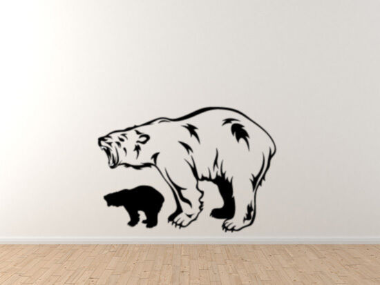 Cold Cimate Creature - Polar bear and small silhouette Roar - Vinyl Wall Decal