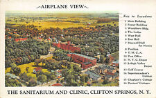 """Clifton Springs NY """"The Sanitarium and Clinic"""" Airplane View Postcard"""