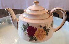 James Sadler Fine English Teapot #3482- Ribbed w/ Yellow & Red Roses, Gold Trim