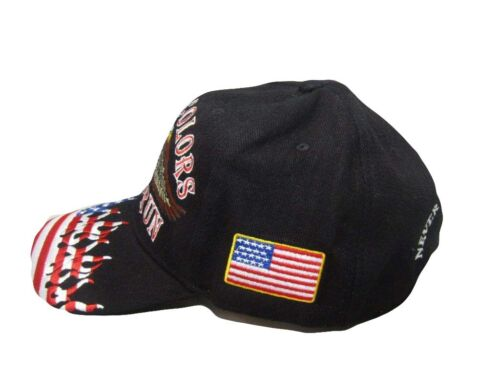 These Colors Don/'t Run Cap Hat USA Patriotic Flame Eagle Veteran BRASS BUCKLE