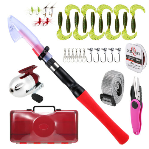 1.2M Fishing Rod and Reel Combo for Kids Telescopic Rod+Lures Hooks D0M5