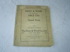 1938 Cockshutt Frost & Wood harvest equipment price list catalog manual